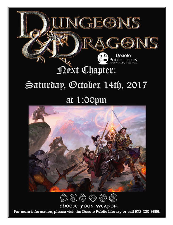 Dungeons and Dragons flier October 2017-672w