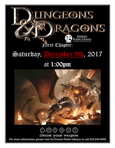 Dungeons and Dragons flier December 2017-400w