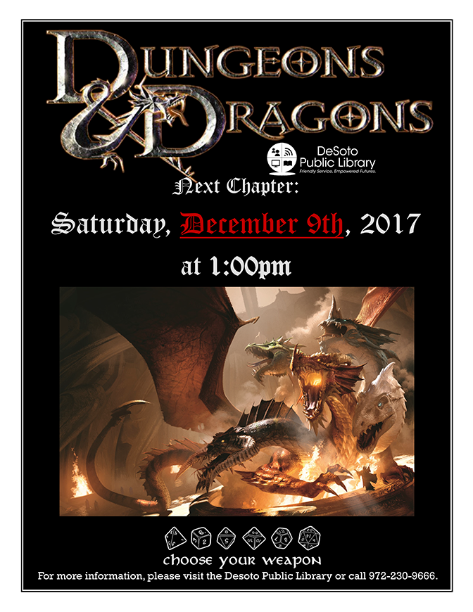 Dungeons and Dragons flier December 2017-672w