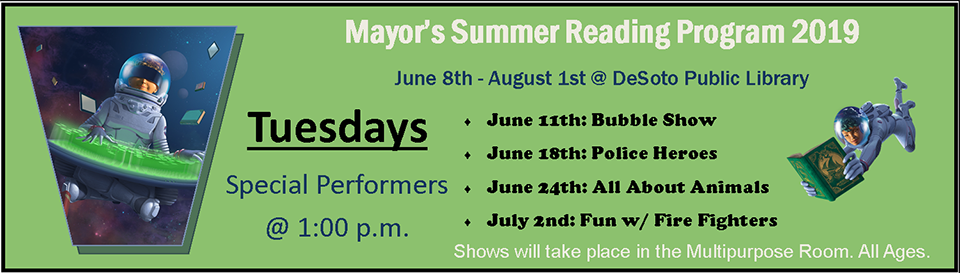Mayor's Summer Reading 2019--Tuesdays banner