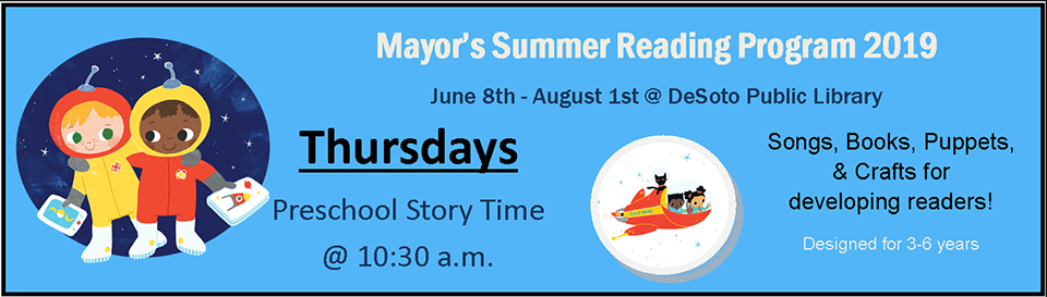 Mayor's Summer Reading 2019--Thursdays preschool banner