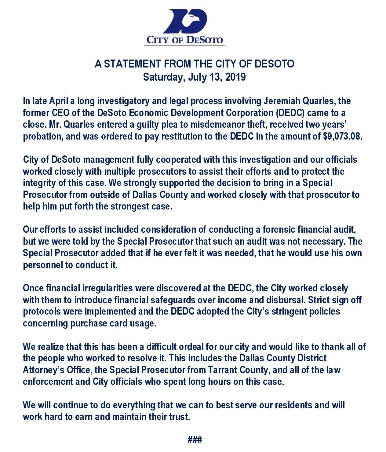 A STATEMENT FROM THE CITY OF DESOTO-FINAL