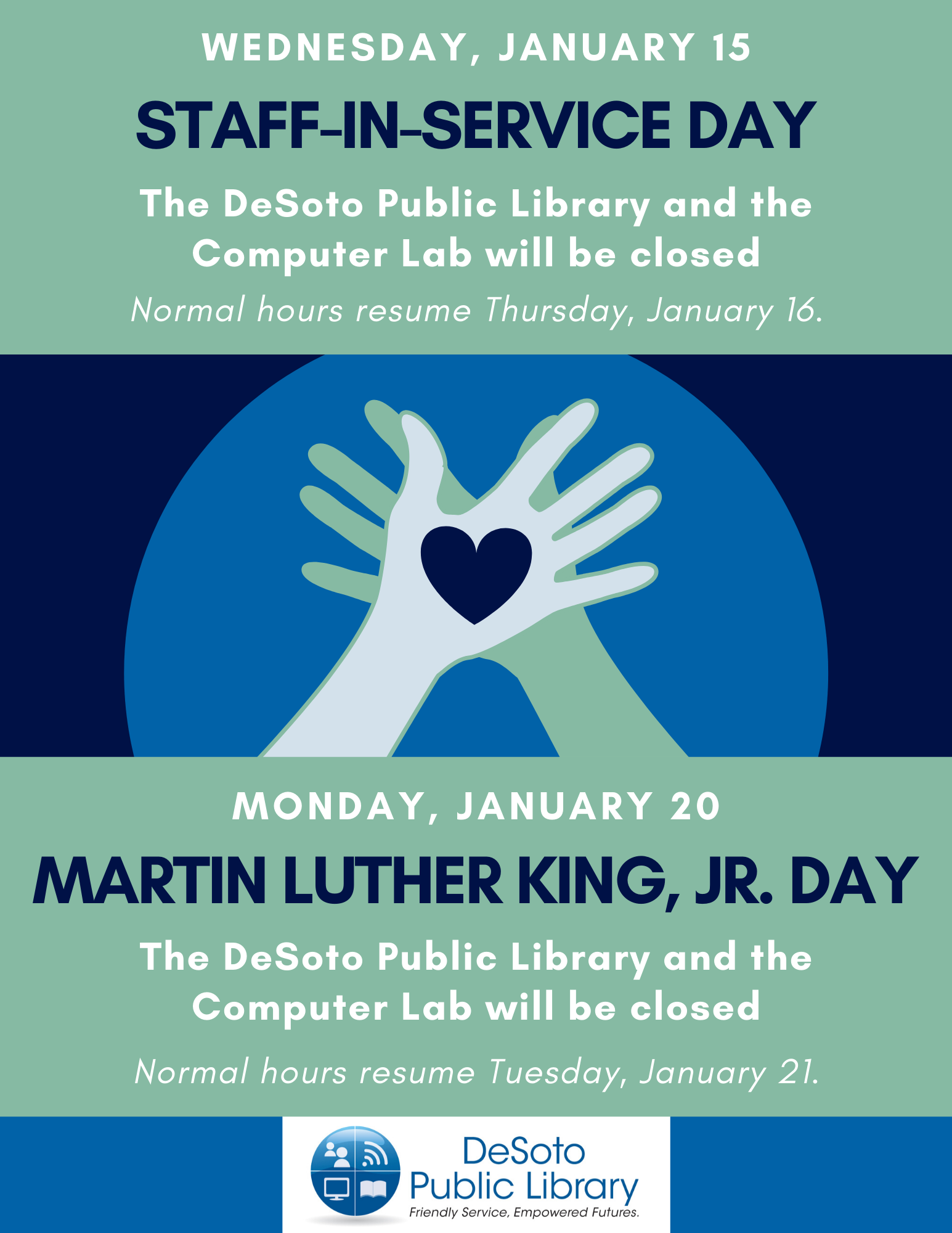 Staff In-Service Day | Martin Luther King , Jr. Day 2020 flyer