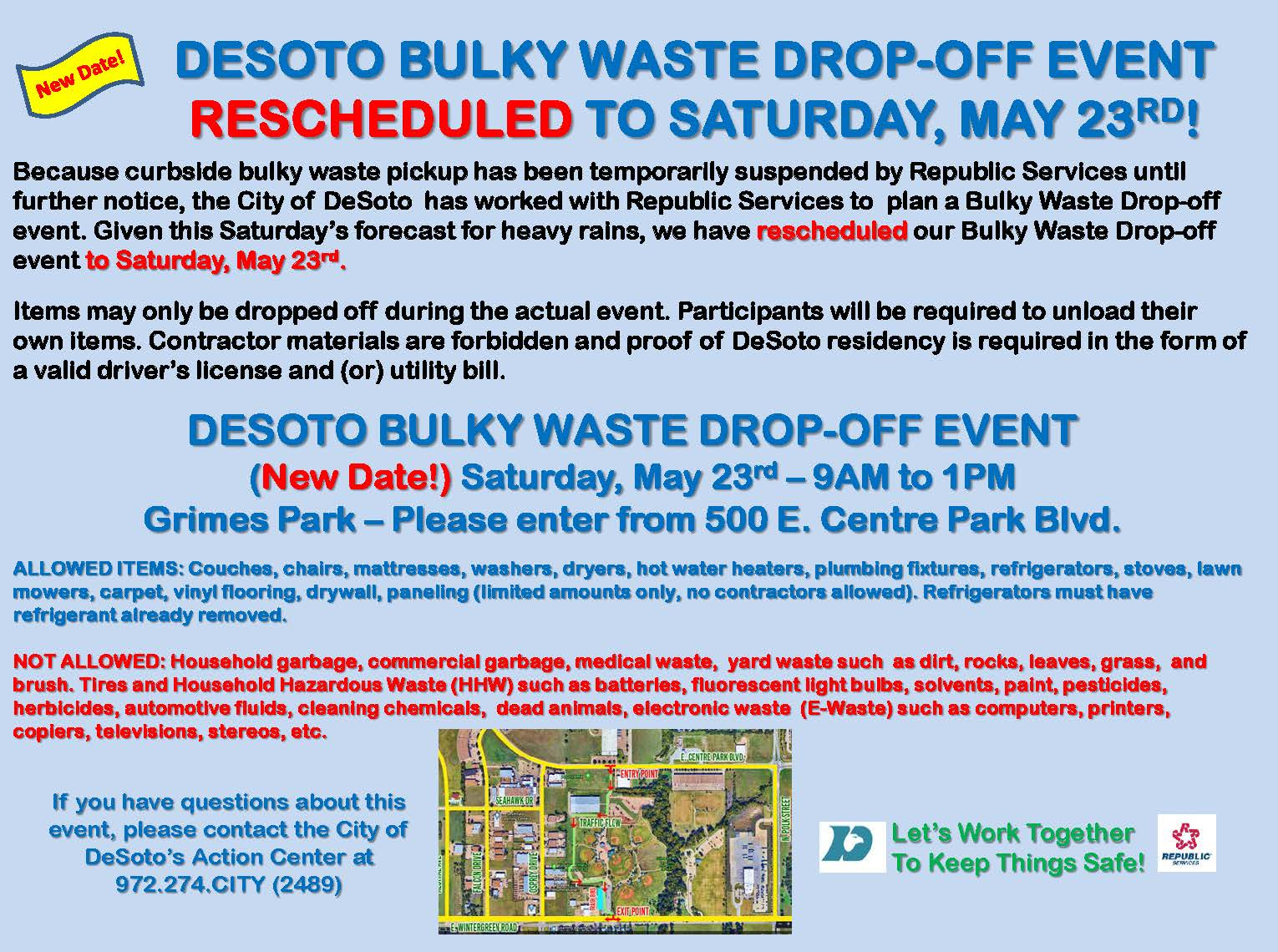 Bulky Waste Event Postponed UPDATED 05152020