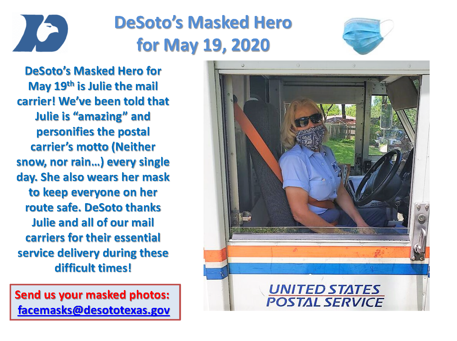 Masked Hero 05192020 Julie Mail Carrier