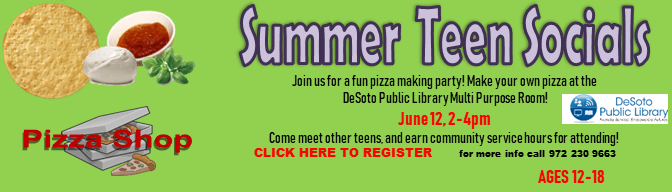 Pizza Shop--Summer Teen Socials 2019--Click here to register!