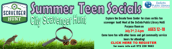 City Scavenger Hunt--Summer Teen Socials 2019--Click here to register!