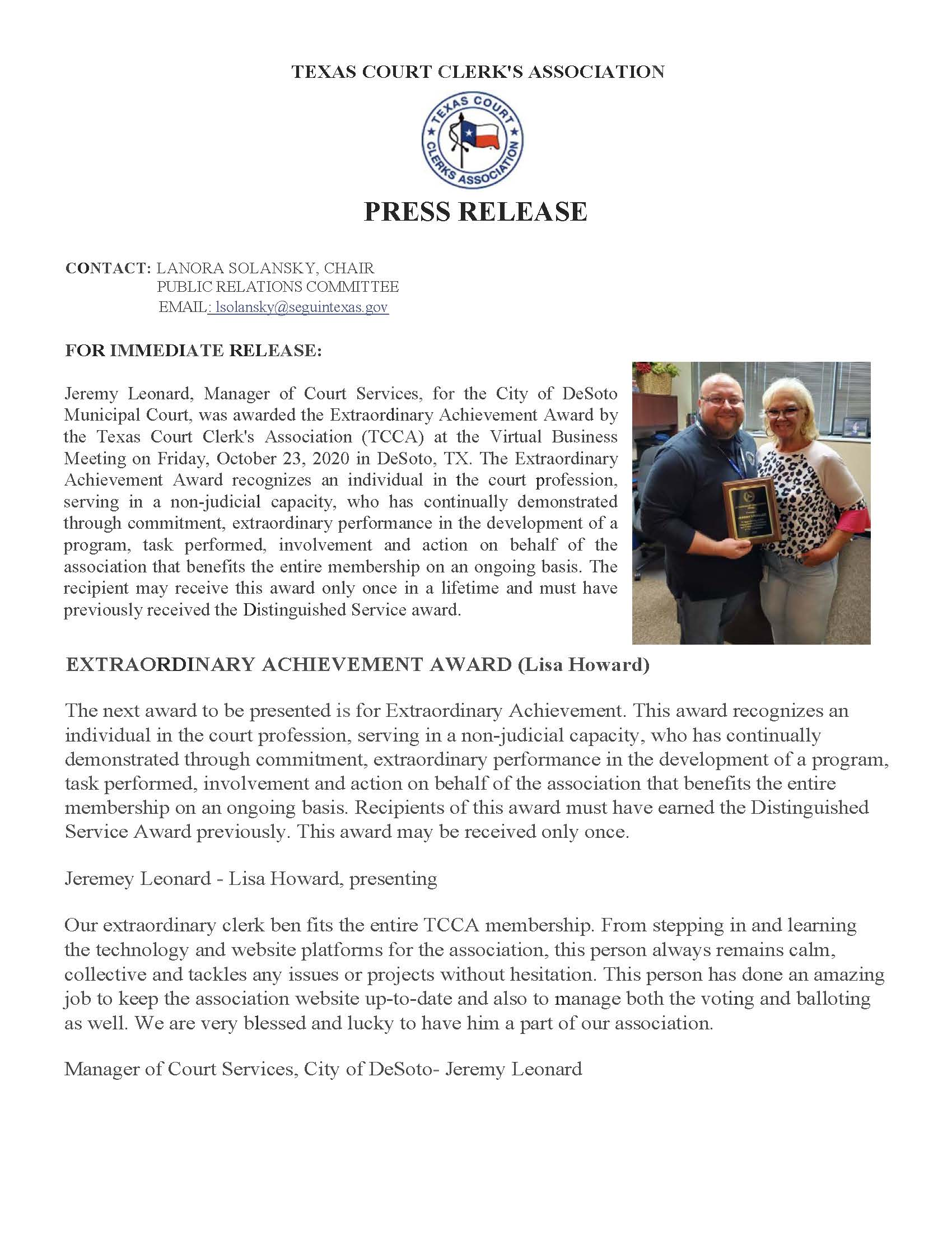 Press Release and photo  - Jeremy Leonard