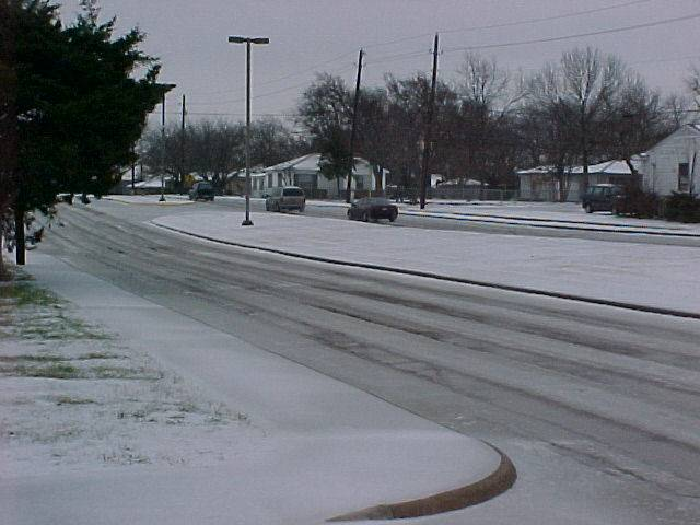 Snowy road that has been sanded