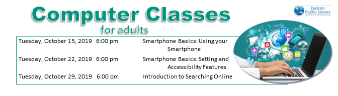 October 2019 Adult Computer Classes banner