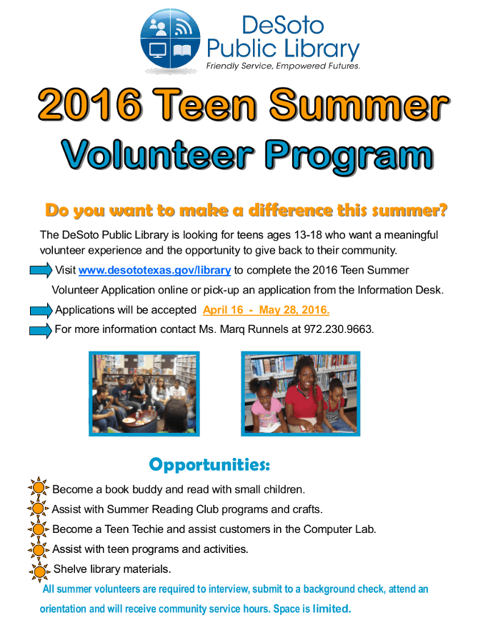 2016 Teen Summer Volunteer Flyer